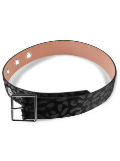 Leopard Faux Leather Metal Buckle Waist Belt - Black