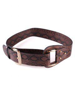 Stylish Snake Print Faux Leather Waist Belt - Coffee