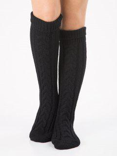 Solid Color Knitted Flanging Hose Socks - Black