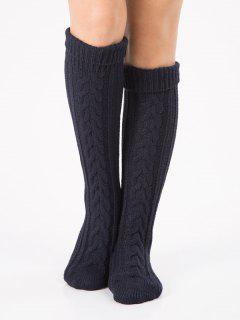 Solid Color Knitted Flanging Hose Socks - Cadetblue