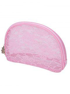 Multifunctional Floral Lace Zipper Cosmetic Bag - Light Pink