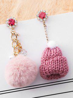 Asymmetry Knitted Hat Design Rhinestone Earrings - Pink