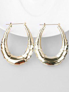 Bamboo Alloy Hoop Drop Earrings - Gold