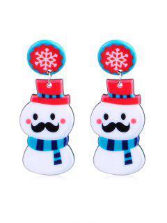 Christmas Snowman Design Drop Earrings - Multi-b