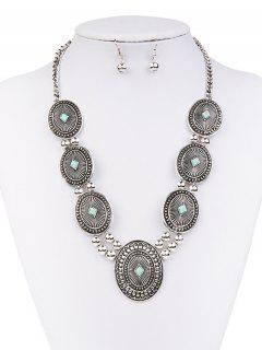 Faux Turquoise Sweater Chain Ball Earrings - Silver