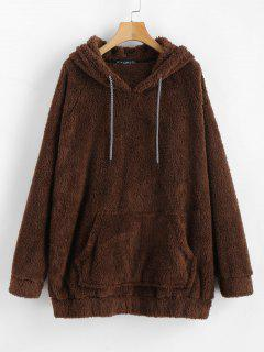 Kangaroo Pocket Plain Faux Fur Hoodie - Coffee S