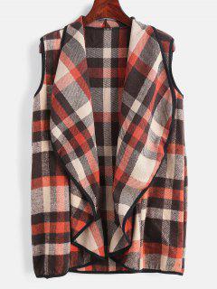 Plaid Shawl Collar Waistcoat - Multi S