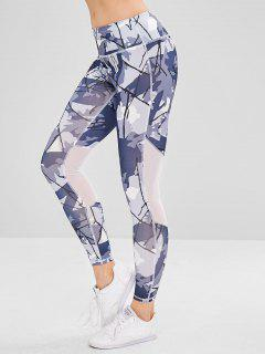 Mixed Print Sport Gym Leggings - Multi M