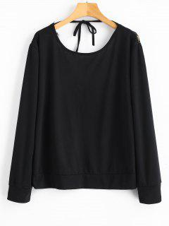 Camiseta De Manga Larga Con Encaje Transparente - Negro L