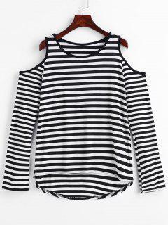 T-shirt Rayé Haut Bas à Epaule Dénudée - Noir L