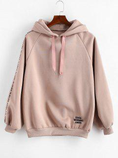 Embroidered Fleece Lined Oversized Hoodie - Lipstick Pink M