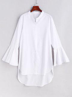 Flare Sleeves High Low Dress - White L