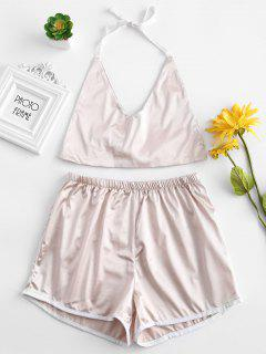 Ensemble De Pyjama En Blocs De Couleur En Satin à Col Halter - Cerisier Rose L