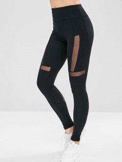 Workout Mesh Panel Sport Leggings - Black M