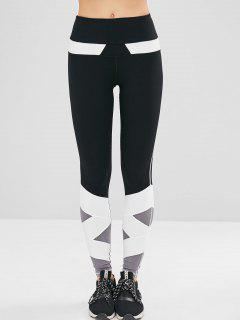 Color Block Athletic Gym Leggings - Black L