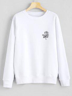Sudadera Con Capucha Gráfico Estampado Floral - Blanco S