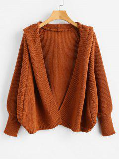 Hooded Open Front Batwing Cardigan - Chestnut