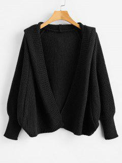 Hooded Open Front Batwing Cardigan - Black