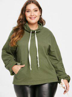 ZAFUL Plus Size Pocket Drawstring Sweatshirt - Army Green L