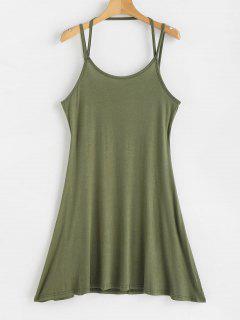 Mini Strappy Slip Dress - Army Green Xl