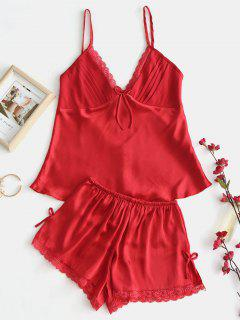 Satin Cami Lace Trim Pyjama Set - Rot S