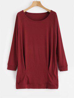 Long Sleeve Mini Shift Dress - Red Wine M