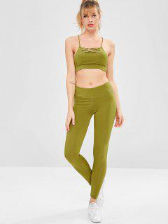 Strappy Gym Bra And Leggings Set - Yellow Green S