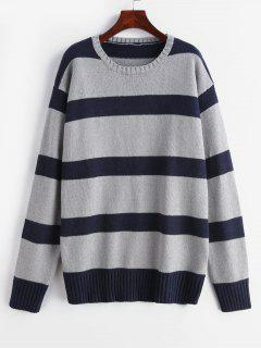 Two Tone Gestreifter Langer Pullover - Multi