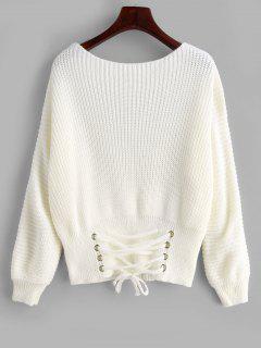 Corset Waist Lace Up Sweater - White