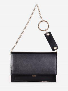 Layered Design PU Leather Tote Bag - Black
