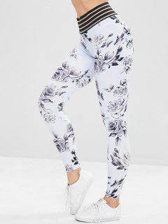 Sport Flower Print Workout Yoga Leggings - Multi L