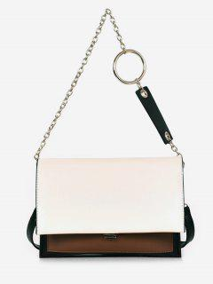 Layered Design PU Leather Tote Bag - White