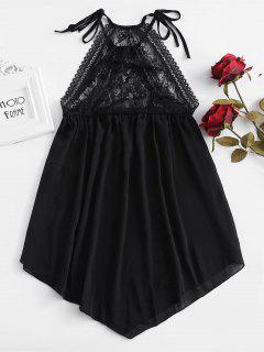 Vestido Asimétrico De Lencería Con Aplicación De Encaje - Negro L