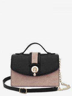 Scrub Leather Metal Lock Design Crossbody Bag - Black