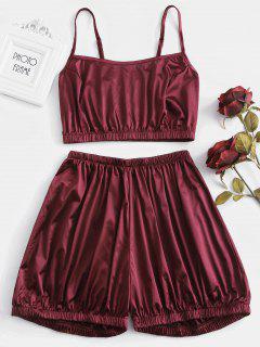 Ensemble De Pyjama à Ourlet Elastique En Satin - Rouge Vineux L