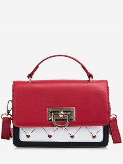 Heart Design Metal Lock Cover Crossbody Bag - Red