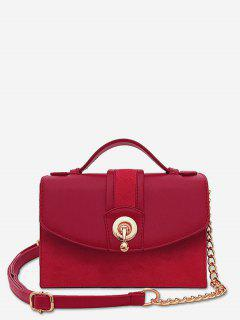 Scrub Leather Metal Lock Design Crossbody Bag - Red