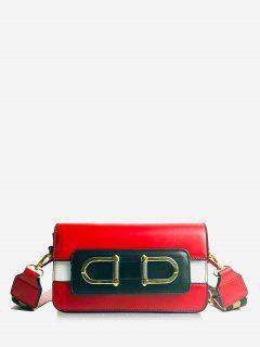 Color Block Design Metal Lock Crossbody Bag - Red
