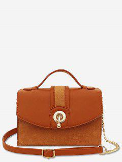 Scrub Leather Metal Lock Design Crossbody Bag - Brown