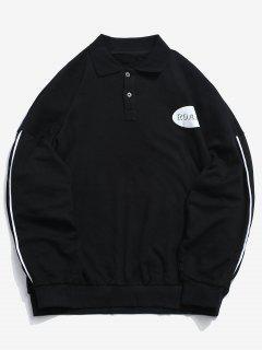 Button Top Side Stripe Letter Sweatshirt - Black Xl