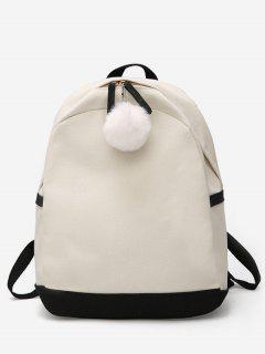 Fluffy Ball Decoration Canvas School Backpack - Black