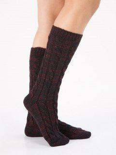 Crochet Knitted Hose Socks - Firebrick