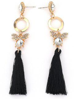 Hollow Circle Butterfly Tassel Dangle Earrings - Gold