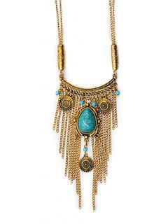 Tassel Design Alloy Sweater Pendant Necklace - Gold