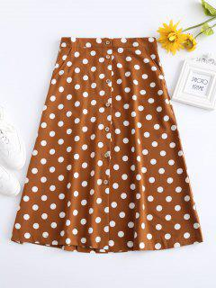 Buttoned A Line Polka Dot Midi Skirt - Tiger Orange L