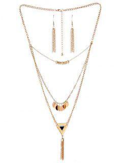 Round Circle Tassel Design Pendant Necklace - Gold