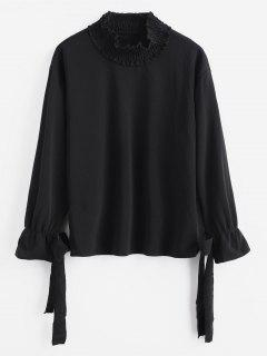 Long Sleeve Knotted Top - Black S