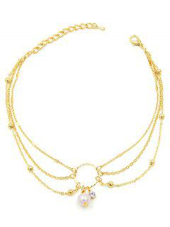Artificial Pearl Decor Multilayered Anklet - Gold