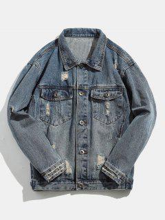 Button Fly Skull Printed Denim Jacket - Blue Koi M