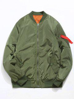 Zip Fly Solid Color Bomber Jacket - Camouflage Green L